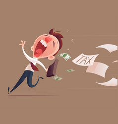 Avoid tax business man running away from tax for vector