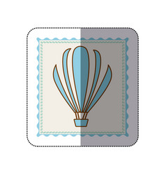 Sticker frame with silhouette of hot air balloon vector