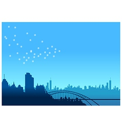Urban skyline bridge vector