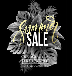 sale banner handwriting lettering poster floral vector image