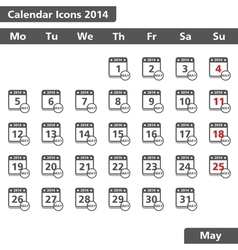 May 2014 calendar icons vector
