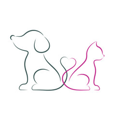 dog and cat minimalist vector image