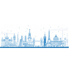 Outline famous landmarks in europe vector