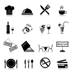 Restaurant icons black vector