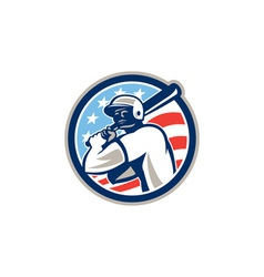 American baseball batter hitter circle retro vector