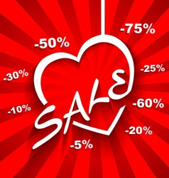 Creative love sale poster with discount sale vector