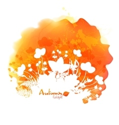 Orange watercolor stain with white foliage vector