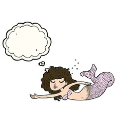 Cartoon mermaid with thought bubble vector