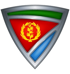 Steel shield with flag eritrea vector