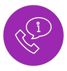 Handset with information sign line icon vector