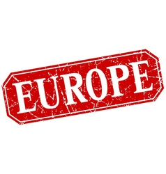 Europe red square grunge retro style sign vector