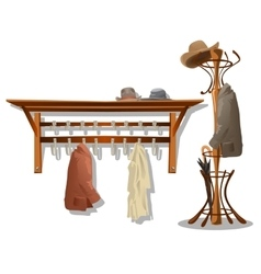Furniture in dressing room coat hooks in hallway vector