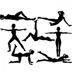 Aerobics silhouettes vector