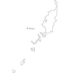 Palau Black White Map Royalty Free Vector Image - Palau map