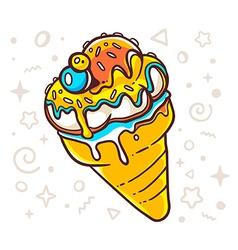 Bright tasty ice cream on white backgroun vector