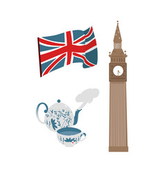 British symbols icon set vector