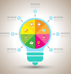 Bulb infographics design template with flat vector