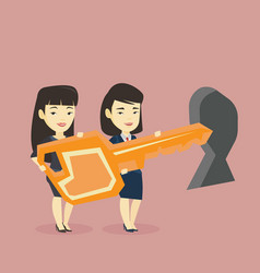 Business people holding key in front of keyhole vector