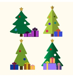 Christmas tree gifts flat isolated vector image vector image