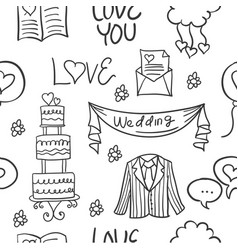 Collection stock of wedding doodles style vector