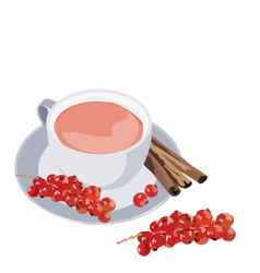 Cup of tea with cranberry and cinnamon vector