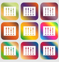 Equalizer icon nine buttons with bright gradients vector