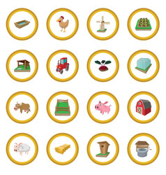 farm cartoon icon circle vector image