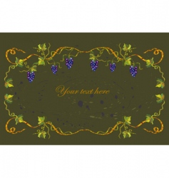 floral frame with grape vector image vector image