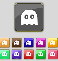Ghost icon sign set with eleven colored buttons vector
