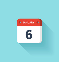 January 6 isometric calendar icon with shadow vector