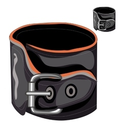 Leather mens bracelet with a buckle vector image vector image