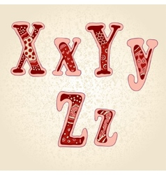 Love the alphabet with a with ornamental letters vector image