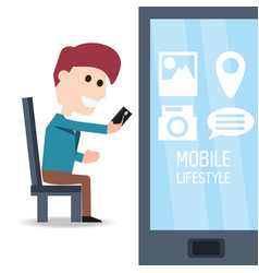 man seated with smartphone in the hand and vector image vector image