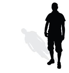 man standing silhouette black vector image vector image