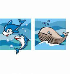marine life dolphins and whale vector image