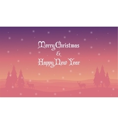 Merry Christmas landscape deer spruce silhouettes vector image vector image