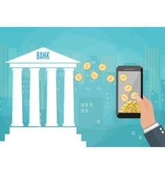 mobile phone with gold coins and bank building vector image vector image