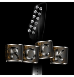 neck of the guitar with words rock vector image