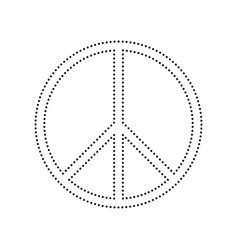 Peace sign black dotted icon vector