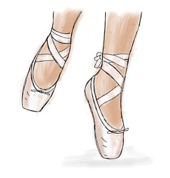 Pink ballerina shoes ballet pointe shoes with vector