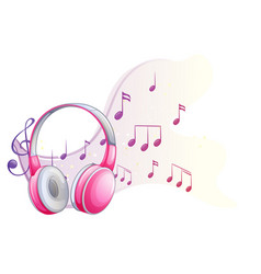 pink headphone with music notes in background vector image vector image