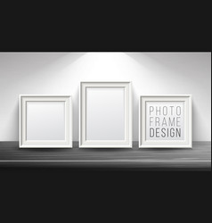 realistic blank picture frame light wood vector image vector image