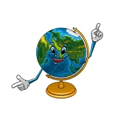 School geographical globe cartoon character vector image