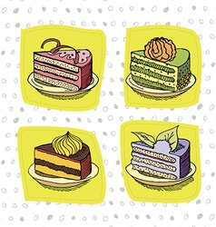 set of cakes vector image vector image