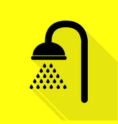 Shower sign black icon with flat style shadow vector