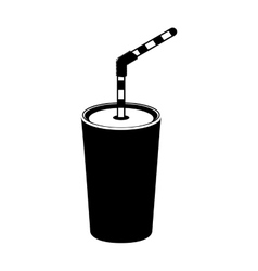 Silhouette monochrome with tumbler with straw vector