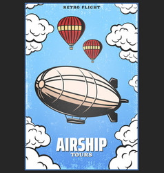 Vintage colored airship poster vector