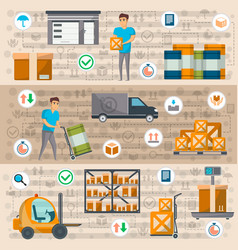 warehouse management and delivery logistics set vector image vector image