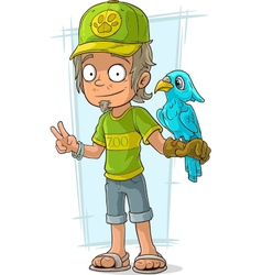 Cartoon standing zoo worker in green vector