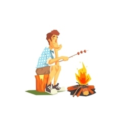 Guy frying meat on camp bonfire vector